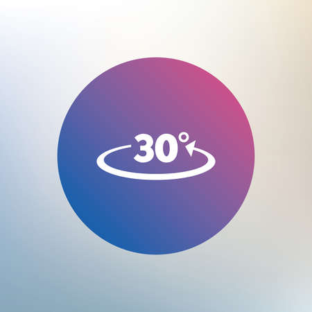 math icon: Angle 30 degrees sign icon. Geometry math symbol. Icon on blurred background. Vector