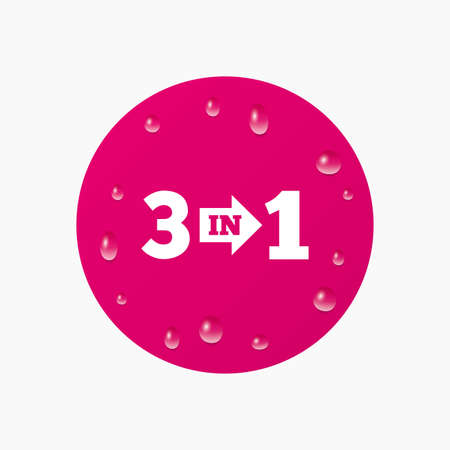 suite: Water drops on button. Three in one suite sign icon. 3 in 1 symbol with arrow. Realistic pure raindrops. Pink circle. Vector Illustration