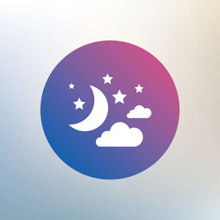 dream: Moon, clouds and stars icon. Sleep dreams symbol. Night or bed time sign. Icon on blurred background. Vector
