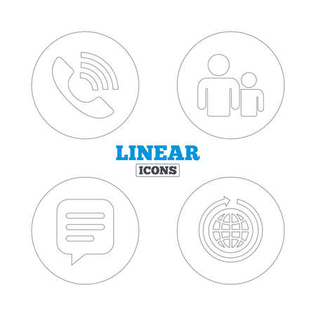 rang: Group of people and share icons. Speech bubble and round the world arrow symbols. Communication signs. Linear outline web icons. Vector