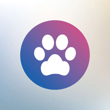 pets: Dog paw sign icon. Pets symbol. Icon on blurred background. Vector Illustration