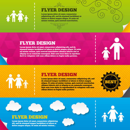 orphan: Flyer brochure designs. Family with two children icon. Parents and kids symbols. One-parent family signs. Mother and father divorce. Frame design templates. Vector Illustration