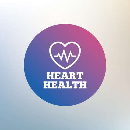 heart health: Heartbeat sign icon. Heart health cardiogram check symbol. Icon on blurred background. Vector