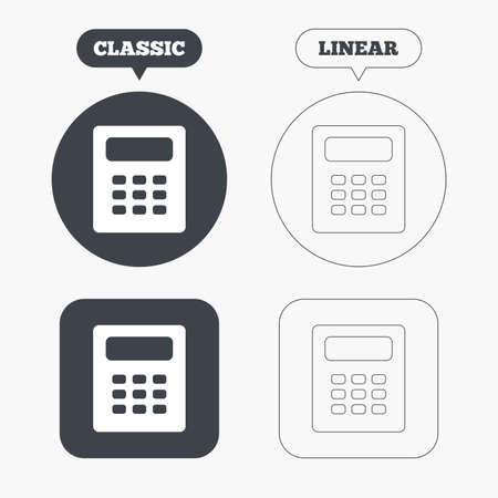 calc: Calculator sign icon. Bookkeeping symbol. Classic and line web buttons. Circles and squares. Vector