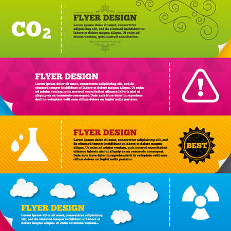 danger carbon dioxide  co2  labels: Flyer brochure designs. Attention and radiation icons. Chemistry flask sign. CO2 carbon dioxide symbol. Frame design templates. Vector Illustration