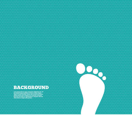 green footprint: Background with seamless pattern. Child footprint sign icon. Toddler barefoot symbol. Triangles green texture. Vector