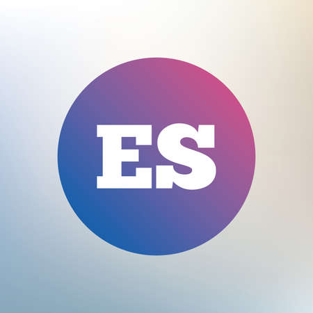 vector es: Spanish language sign icon. ES translation symbol. Icon on blurred background. Vector