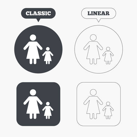 family with one child: One-parent family with one child sign icon. Mother with daughter symbol. Classic and line web buttons. Circles and squares. Vector
