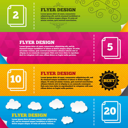 quantity: Flyer brochure designs. In pack sheets icons. Quantity per package symbols. 2, 5, 10 and 20 paper units in the pack signs. Frame design templates. Vector