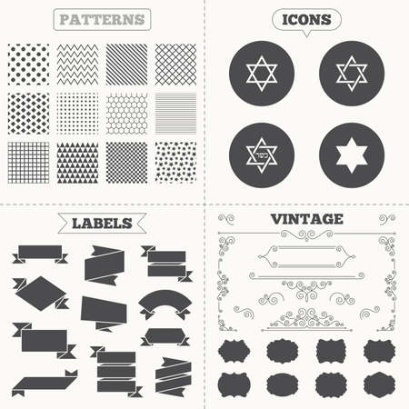 zion: Seamless patterns. Sale tags labels. Star of David sign icons. Symbol of Israel. Vintage decoration. Vector