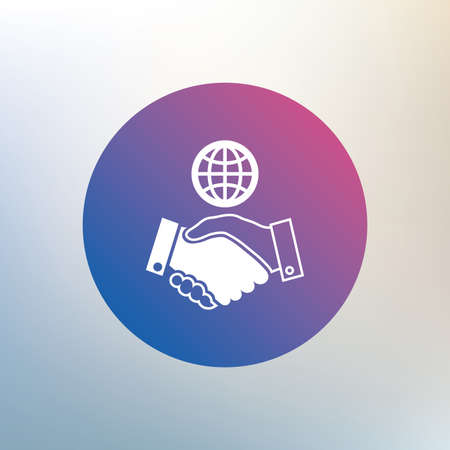 amicable: World handshake sign icon. Amicable agreement. Successful business with globe symbol. Icon on blurred background. Vector