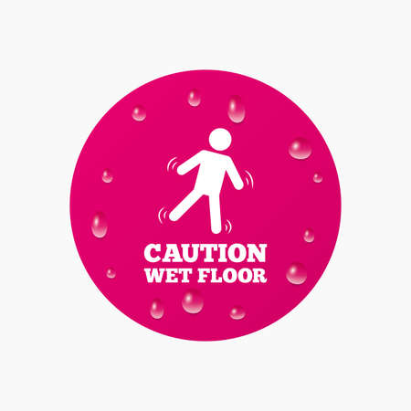 wet floor caution sign: Water drops on button. Caution wet floor sign icon. Human falling symbol. Realistic pure raindrops. Pink circle. Vector