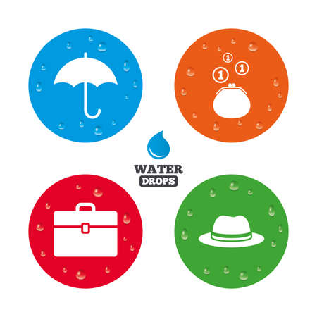 business case: Water drops on button. Clothing accessories icons. Umbrella and headdress hat signs. Wallet with cash coins, business case symbols. Realistic pure raindrops on circles. Vector