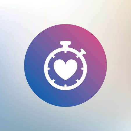 Heart Timer sign icon. Stopwatch symbol. Heartbeat palpitation. Icon on blurred background. Vector