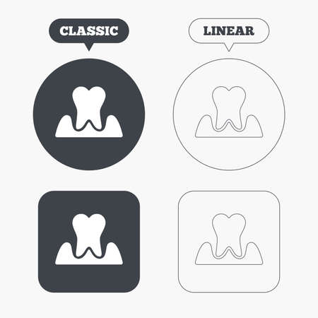 gingivitis: Parodontosis tooth icon. Gingivitis sign. Inflammation of gums symbol. Classic and line web buttons. Circles and squares. Vector