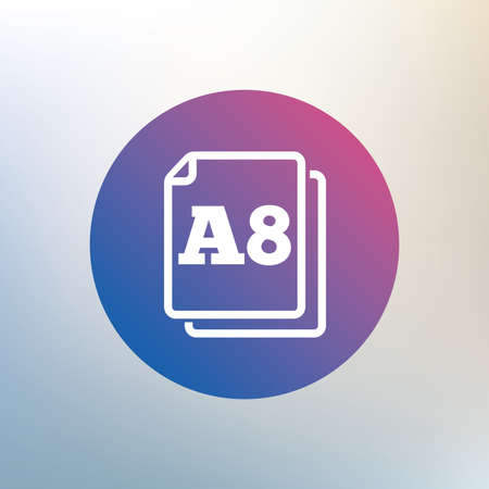 size: Paper size A8 standard icon. File document symbol. Icon on blurred background. Vector