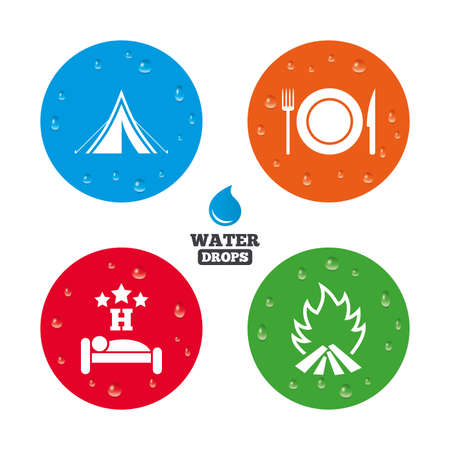 breakfast in bed: Water drops on button. Food, sleep, camping tent and fire icons. Knife, fork and dish. Hotel or bed and breakfast. Road signs. Realistic pure raindrops on circles. Vector Illustration