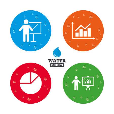 Water Drops On Button Diagram Graph Pie Chart Icon Presentation