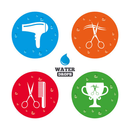 cut hair: Water drops on button. Hairdresser icons. Scissors cut hair symbol. Comb hair with hairdryer symbol. Barbershop winner award cup. Realistic pure raindrops on circles. Vector Illustration