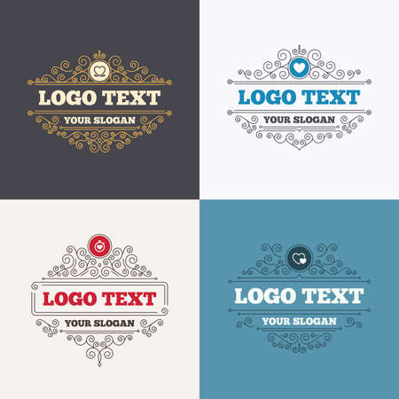 palpitation: Flourishes calligraphic emblems. Heart ribbon icon. Timer stopwatch symbol. Love and Heartbeat palpitation signs. Luxury ornament lines. Vector