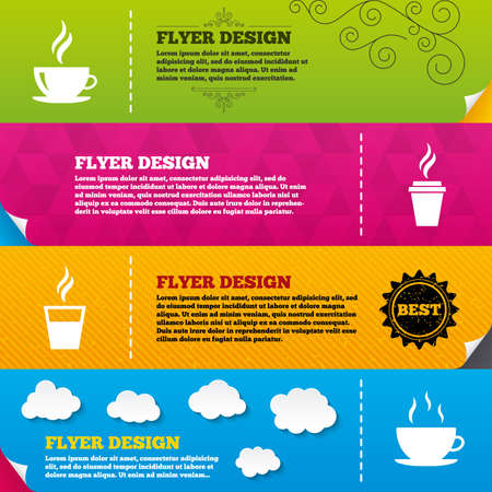 takeout: Flyer brochure designs. Coffee cup icon. Hot drinks glasses symbols. Take away or take-out tea beverage signs. Frame design templates. Vector Illustration