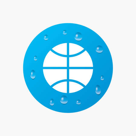 Water drops on button. Basketball sign icon. Sport symbol. Realistic pure raindrops. Blue circle. Vector Illustration