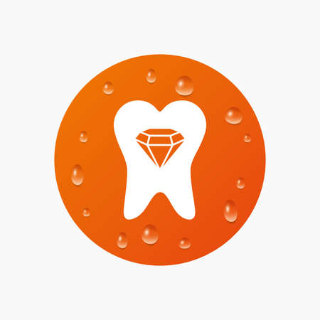 prestige: Water drops on button. Tooth crystal icon. Tooth jewellery sign. Dental prestige symbol. Realistic pure raindrops. Orange circle. Vector