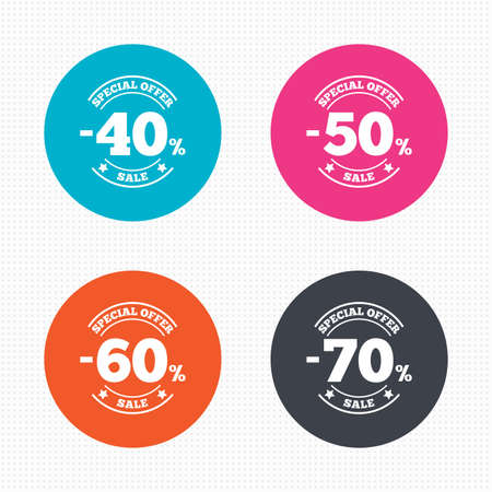 50 to 60: Circle buttons. Sale discount icons. Special offer stamp price signs. 40, 50, 60 and 70 percent off reduction symbols. Seamless squares texture. Vector Illustration