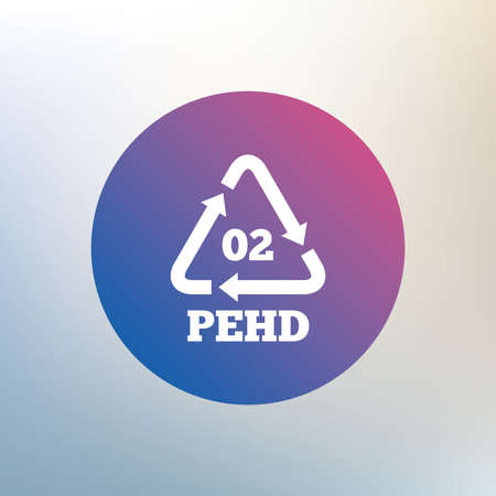 polyethylene: Hd-pe 02 icon. High-density polyethylene sign. Recycling symbol. Icon on blurred background. Vector Illustration