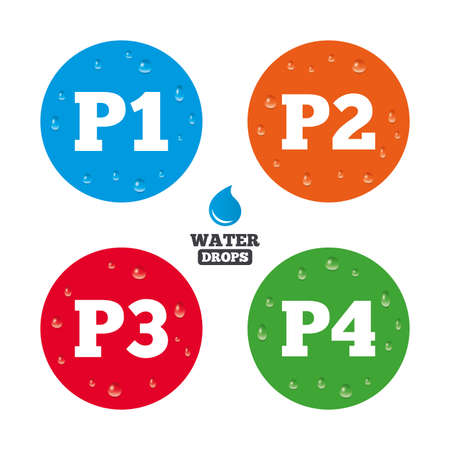 Water drops on button. Car parking icons. First, second, third and four floor signs. P1, P2, P3 and P4 symbols. Realistic pure raindrops on circles. Vector