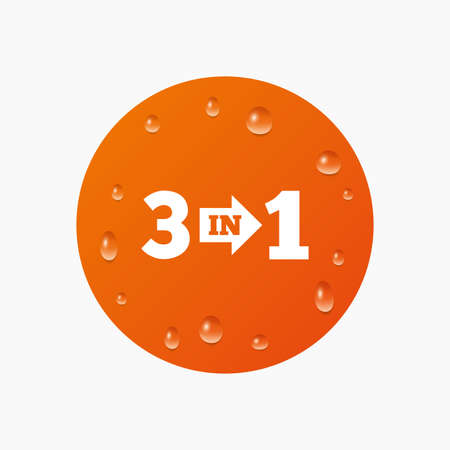 suite: Water drops on button. Three in one suite sign icon. 3 in 1 symbol with arrow. Realistic pure raindrops. Orange circle. Vector
