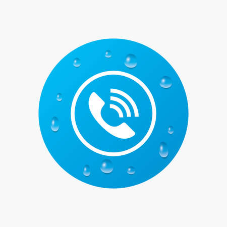 support center: Water drops on button. Phone sign icon. Call support center symbol. Communication technology. Realistic pure raindrops. Blue circle. Vector Illustration