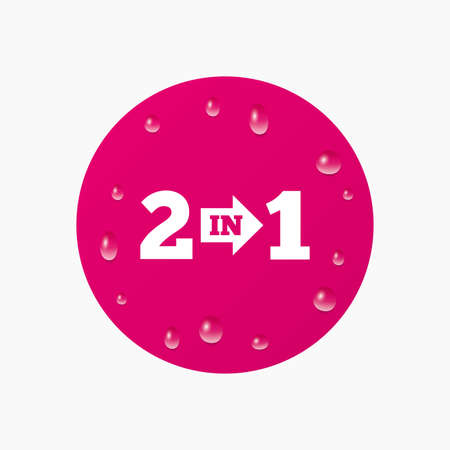 suite: Water drops on button. Two in one suite sign icon. 2 in 1 symbol with arrow. Realistic pure raindrops. Pink circle. Vector