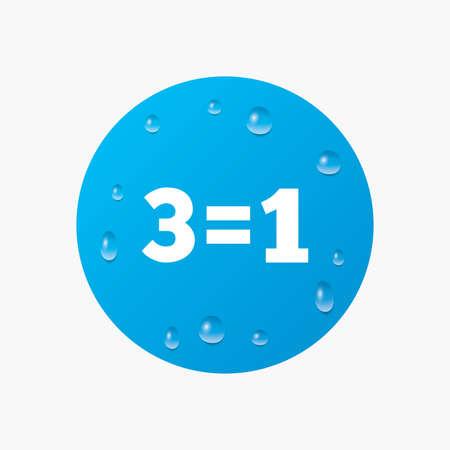 equals: Wassertropfen auf der Taste. Drei f�r eine Zeichen-Symbol. Nehmen Sie drei Lohn f�r einen Verkauf-Taste. 3 gleich 1. Realistische reine Regentropfen. Blauen Kreis. Vektor