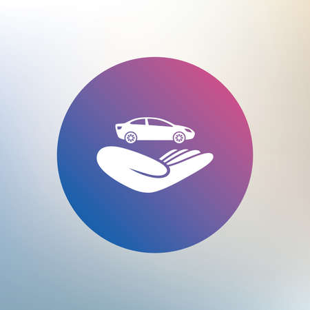 damage: Car insurance sign icon. Hand holds transport. Protection vehicle from damage and accidents. Icon on blurred background. Vector