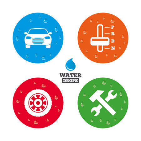 automatic transmission: Water drops on button. Transport icons. Car tachometer and automatic transmission symbols. Repair service tool with wheel sign. Realistic pure raindrops on circles. Vector