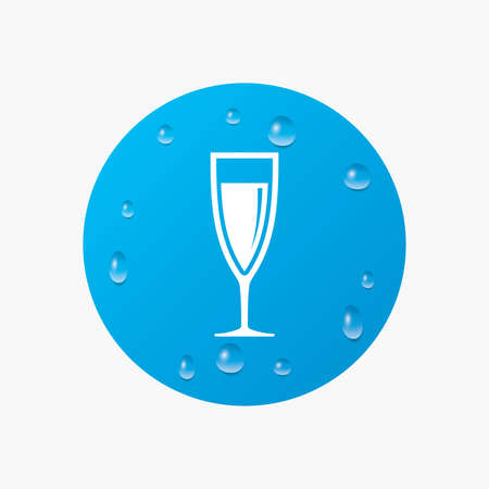 champagne celebration: Water drops on button. Glass of champagne sign icon. Sparkling wine. Celebration or banquet alcohol drink symbol. Realistic pure raindrops. Blue circle. Vector Illustration