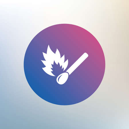 burns: Match stick burns icon. Burning matchstick sign. Fire symbol. Icon on blurred background. Vector Illustration