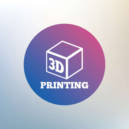 additive: 3D Print sign icon. 3d cube Printing symbol. Additive manufacturing. Icon on blurred background. Vector Illustration