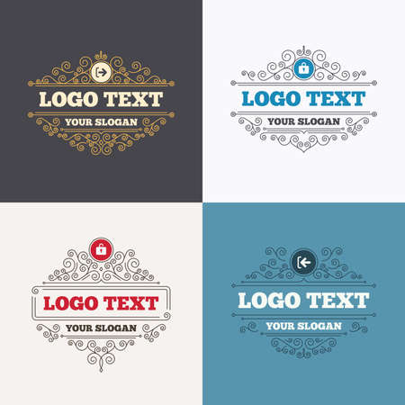 sign out: Flourishes calligraphic emblems. Login and Logout icons. Sign in or Sign out symbols. Lock icon. Luxury ornament lines. Vector