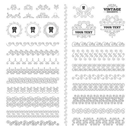 unhealthy: Vintage ornaments. Flourishes calligraphic. Tooth happy, sad and crying faces icons. Dental care signs. Healthy or unhealthy teeth symbols. Invitations elements. Vector