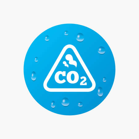 caution chemistry: Water drops on button. CO2 carbon dioxide formula sign icon. Chemistry symbol. Realistic pure raindrops. Blue circle. Vector