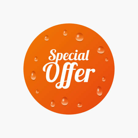 sale sign: Water drops on button. Special offer sign icon. Sale symbol. Realistic pure raindrops. Orange circle. Vector Illustration