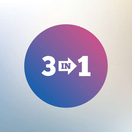 suite: Three in one suite sign icon. 3 in 1 symbol with arrow. Icon on blurred background. Vector