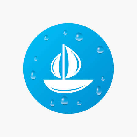ship sign: Water drops on button. Sail boat icon. Ship sign. Shipment delivery symbol. Realistic pure raindrops. Blue circle. Vector Illustration