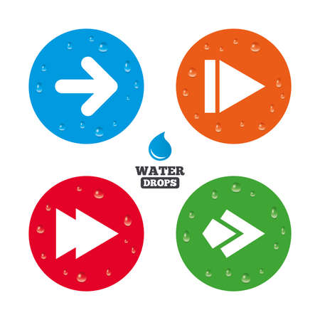 button icons: Water drops on button. Arrow icons. Next navigation arrowhead signs. Direction symbols. Realistic pure raindrops on circles. Vector