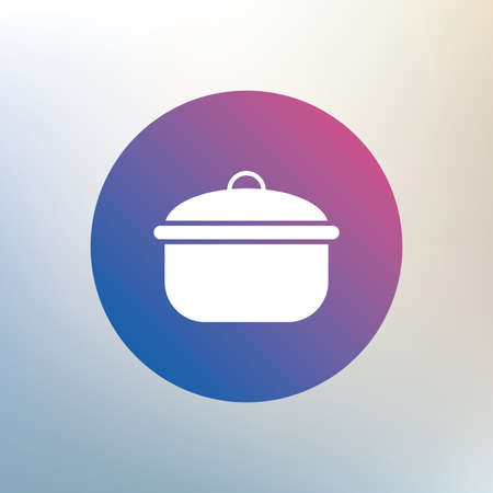 stew: Cooking pan sign icon. Boil or stew food symbol. Icon on blurred background. Vector
