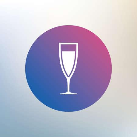 sektglas: Glas Champagner-Zeichen-Symbol. Schaumwein. Feier oder Bankett Alkohol trinken Symbol. Icon auf unscharfen Hintergrund. Vektor Illustration