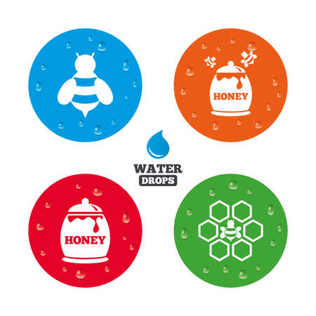 fructose: Water drops on button. Honey icon. Honeycomb cells with bees symbol. Sweet natural food signs. Realistic pure raindrops on circles. Vector