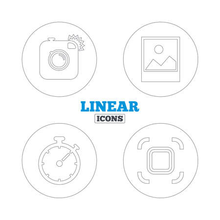 autofocus: Hipster retro photo camera icon. Autofocus zone symbol. Stopwatch timer sign. Landscape photo frame. Linear outline web icons. Vector Vettoriali